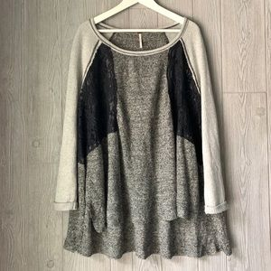 Free People Linen Blend Slouchy Pullover Tunic Top
